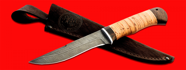 """Нож """"Кадет"""", клинок дамасская сталь, рукоять береста, с отверстием под темляк (ремешок)"""