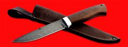 Нож Мясник, клинок дамасская сталь, рукоять венге, с отверстием под темляк (ремешок)