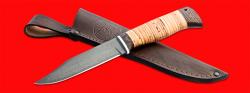 Нож Пантера, клинок сталь Х12МФ, рукоять береста, с отверстием под темляк (ремешок)