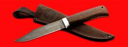 Нож Пантера, клинок дамасская сталь, рукоять венге, с отверстием под темляк (ремешок)