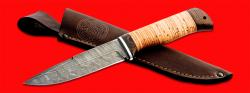 Нож Старатель, клинок дамасская сталь, рукоять береста, с отверстием под темляк (ремешок)