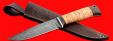 """Нож """"Турист"""", клинок дамасская сталь, рукоять береста, с отверстием под темляк (ремешок)"""