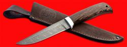 Нож Фартовый, клинок дамасская сталь, рукоять венге, с отверстием под темляк (ремешок)