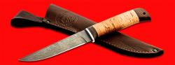 Нож Фартовый, клинок дамасская сталь, рукоять береста, с отверстием под темляк (ремешок)