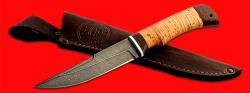 Нож Ягуар, клинок дамасская сталь, рукоять береста, с отверстием под темляк (ремешок)