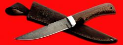 Нож Ягуар, клинок дамасская сталь, рукоять венге, с отверстием под темляк (ремешок)