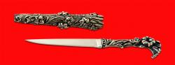 Авторский нож Дамский, клинок сталь 95Х18 рукоять и ножны мельхиор