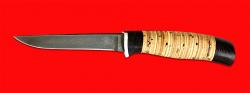 Нож Тунец, клинок тигельный булат, рукоять береста
