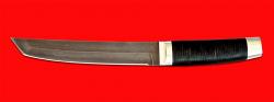 Нож Самурай большой, клинок тигельный булат, рукоять кожа, металл