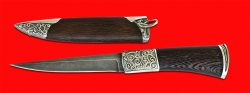 Авторский нож Перо, клинок дамасская сталь, рукоять венге, мельхиор