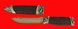 Авторский нож Рыбацкий, клинок сталь 95Х18, рукоять венге, мельхиор