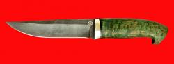 Нож Марал, клинок булатная нержавеющая сталь (нержавеющий булат), рукоять стабилизированная карельская берёза (цвет зелёный)