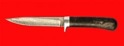 Нож Засапожный-2, клинок тигельный булат, рукоять стабилизированная карельская берёза (цвет чёрный)