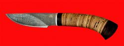 Нож Рысь-2, клинок тигельный булат, рукоять береста