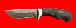 Булатный нож Филин, клинок тигельный булат, рукоять стабилизированная карельская берёза (цвет чёрный)