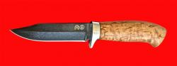 Нож Гюрза, клинок тигельный булат, рукоять стабилизированная карельская берёза (цвет натуральный)