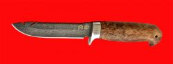 Нож Рыбацкий-3, клинок тигельный булат, рукоять стабилизированная карельская берёза (цвет натуральный)