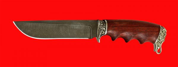 """Подарочный нож """"Кузьмич"""", клинок дамасская сталь, рукоять падук, мельхиор"""