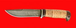 Нож Бурлак, клинок дамасская сталь, рукоять береста