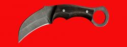 Нож Касатка, цельнометаллический, клинок дамасская сталь, рукоять венге