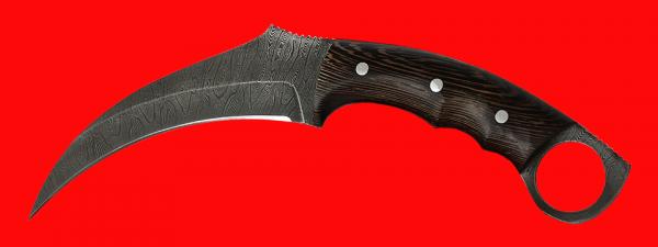 """Нож-керамбит """"Коготь кошки"""", цельнометаллический, клинок дамасская сталь, рукоять венге"""