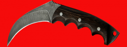 """Нож-керамбит """"Коготь рыси"""", цельнометаллический, клинок дамасская сталь, рукоять венге"""