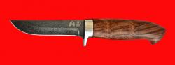 Булатный нож Финский, клинок тигельный булат, рукоять бубинга