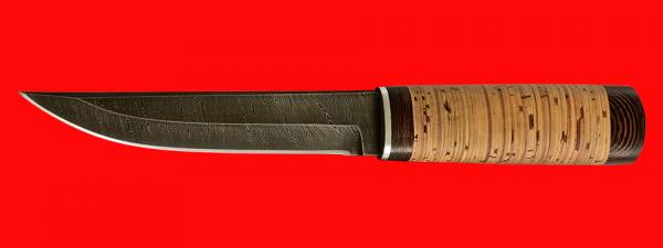 """Охотничий нож """"Скиталец"""", клинок дамасская сталь, рукоять береста"""