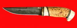 Булатный нож Марал, клинок тигельный булат, рукоять наборная стабилизированная карельская береза (цвет натуральный), рог лося, кожа-латунь