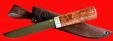 """Авторский нож """"Пареньский средний"""", клинок тигельный композит (легированный булат), рукоять стабилизированная карельская береза (цвет натуральный)"""