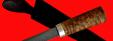 """Авторский нож """"Пареньский-2 малый"""", клинок дамасская сталь, рукоять стабилизированная карельская береза (цвет натуральный)"""