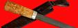 """Авторский нож """"Пареньский-2 средний"""", клинок дамасская сталь, рукоять стабилизированная карельская береза (цвет натуральный)"""
