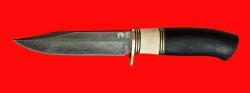 Нож Гюрза, клинок тигельный композит (легированный булат), рукоять наборная граб, рог лося, кожа-латунь