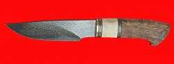 Охотничий нож Рысь, клинок тигельный булат, рукоять наборная стабилизированная карельская береза (цвет натуральный), рог лося, кожа-латунь