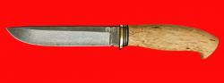 Охотничий нож Кедр, клинок булатная нержавеющая сталь (нержавеющий булат), рукоять наборная стабилизированная карельская берёза (цвет натуральный)