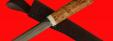 Якутский нож 001, ручная ковка, клинок сталь У8, заточка линза, рукоять карельская берёза