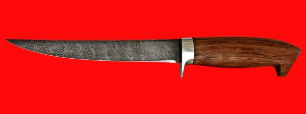"""Филейный нож """"Судак средний"""", клинок дамасская сталь, рукоять бубинга"""