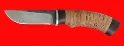 Охотничий нож Грибник (малый), клинок сталь 95Х18 со следами ковки, рукоять береста