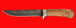 """Нож """"Засапожный №1 магнум"""", цельнометаллический, клинок дамасская сталь, рукоять карельская берёза"""