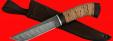"""Охотничий нож """"Олень"""", клинок дамасская сталь, рукоять береста"""