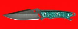 Нож Городской, цельнометаллический, клинок сталь Х12МФ, рукоять пластик (зеленый)