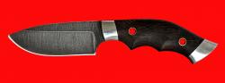 Нож Черепаха, цельнометаллический, клинок дамасская сталь, рукоять венге