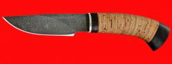 Охотничий нож Рысь-2, клинок дамасская сталь, рукоять береста
