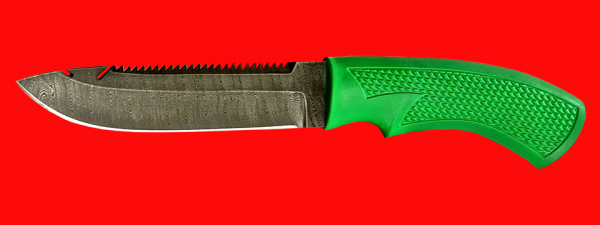 "Нож ""Рыбацкий-5"", клинок дамасская сталь, рукоять пластмасса (цвет зелёный)"