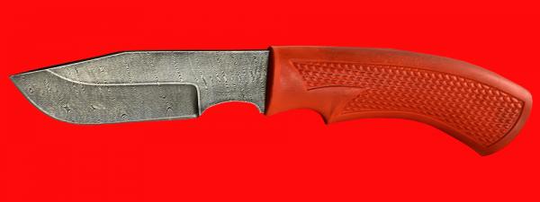 """Нож """"Охотничий-2"""", клинок дамасская сталь, рукоять пластмасса (цвет оранжевый)"""