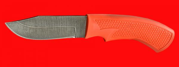 """Нож """"Крепыш-3"""", клинок дамасская сталь, рукоять пластмасса (цвет оранжевый)"""