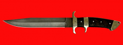 Нож Атака, цельнометаллический, клинок дамасская сталь, рукоять венге, мельхиор