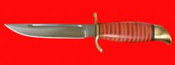 """Нож """"Финка НКВД"""" 004, клинок сталь У8, рукоять наборный пластик, латунь"""