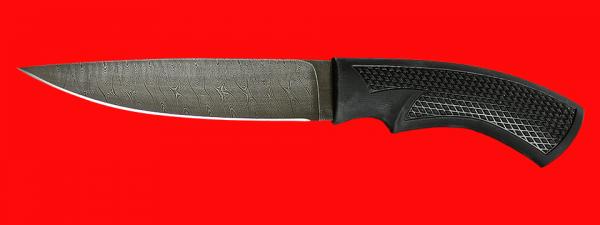 """Нож """"Лис"""", клинок дамасская сталь, рукоять пластмасса (цвет черный)"""