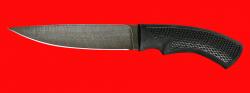 Нож Лис, клинок дамасская сталь, рукоять пластмасса (цвет черный)